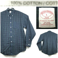 Brooks Brothers 346 Mens Large Green Blue Plaid Non-Iron L/S Button Down Shirt