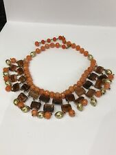 Coral Brown And Gold Colour Unusual Vintage Retro Collar Necklace In