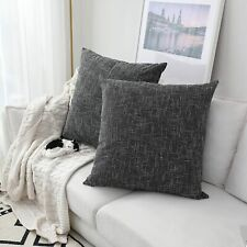 "2 Kevin Textile Black Soft Solid Lined Linen Pillow Covers 26"" X 26"""