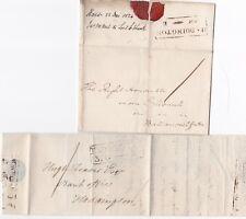 # 1816/24 2 DIFF HADDINGTON MILEAGE WRAPPER & LETTER 1d RATES 1 NORTH BERWICK