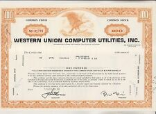 1970 Stock Certificate - Western Union Computer Utilities - Delaware