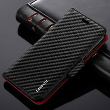 Luxury Magnetic Wallet Carbon Pattern Flip Leather Case Cover for iPhone Samsung