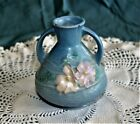 """Roseville Pottery Cosmos Blue Small Vase 944-4, 4"""" tall, excellent condition."""