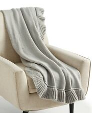 Whim by Martha Stewart Throw Blanket Ruffle Grey B9X036