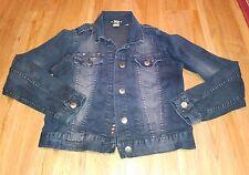 Abby Dawn Dark Wash Embellished Jean Jacket Size L scl-i
