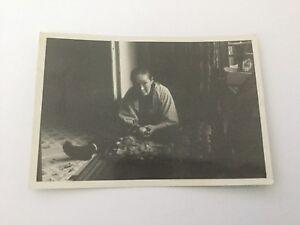 Original Old Japan Japanese Photo Old Woman Preparing Food Circa 1930's