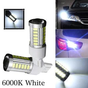 2x T20 7443 5630 33SMD LED Dome Map Car Backup Reverse Light Bulbs White 6000K
