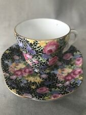 PV02439 Trimont China Occupied Japan BLACK CHINTZ Demitasse Cup & Saucer