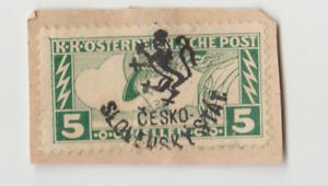 Czechoslovakia, Revolutionary overprint 1918 Budweis Mi. 103, ON A C/O