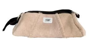 Ugg Australia Dusty Pink Trimmed Shearling Sheepskin Baguette Bag Leather Strap