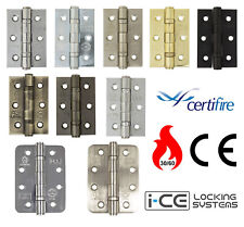 "Door Hinges 3"" Or 4"" Ball Bearing Steel Butt Inc Fixing Screws Hinges Pairs CE7"