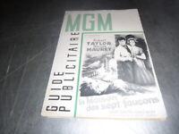 Vintage guide publicitaire MGM   la maison des sept faucons  Robert taylor