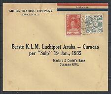 Curacao covers 1935 1st Flightcover Aruba to Curacao