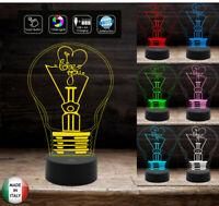 Idea regalo San Valentino LAMPADINA con scritta I LOVE YOU Lampada led 7 colori