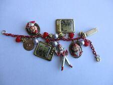 RARE Vintage 1950s Hoody Doody TV Show Charm Bracelet 7 Charms TV Screen Howdy +