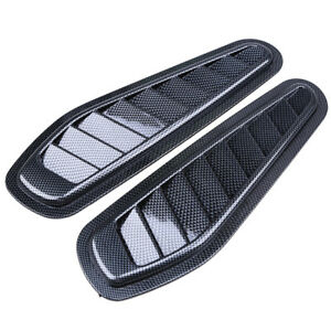 2PC Car Front Bonnet Hood Decorative Simulation Air Flow Intake Scoop Vent Cover