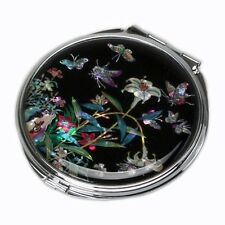 Mother of Pearl Lily Design Compact Cosmetic Makeup Double Beauty Round Mirror