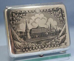 Russian Soviet 875 Silver Niello Kremlin Cigarette Case Garnet Cabochon C. 1930s