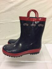 Kids Rubber Blue & Red Rain Boots Kids Sz 12 - Boys Vtg Bicycle