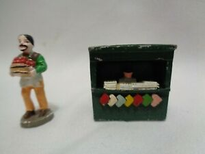 Rare Old Newspaper Vendor Stand Miniature Dollhouse Fruit Seller Lead Toy