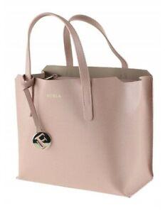 FURLA Sally Large Open Tote Dusty Rose Safiano Leather Bag NWT $415