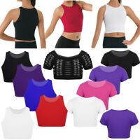Child Girls Belly Dance Wear Workout Crop Tops Gym Stage Performance Tank Tops