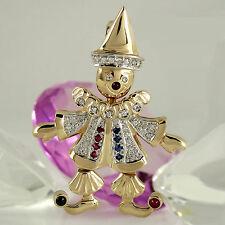 Großer Anhänger Harlekin 585 Gelbgold Weißgold 14K mit Edelsteinen und Diamanten