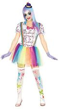 Ladies Rainbow Clown Circus Festival Halloween Fancy Dress Costume Outfit 10-16
