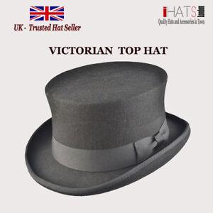 Mens Black Top Hat 100% Felt Supreme Quality Ascot Victorian Hat-iHATS London UK