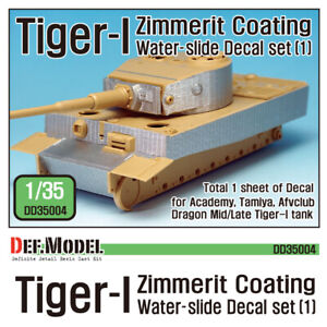 Tiger-I Mid/Late Zimmerit Decal set #1, DEF Model DD35004, SCALE 1/35