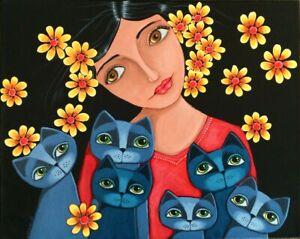 Whimsical Cat Lady painting original  art GOSHRIN