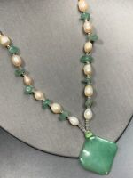 Vtg Freshwater  Pearl Beaded Jade  Pendant Necklace  Glass Seed Beaded Chain 18""