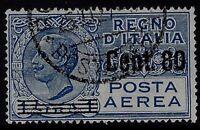 Regno - 1927 - Posta Aerea cent.80 su Lire 1 - usato - A.9 - Firmato Sorani