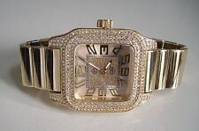 Men's big hip hop Bling clubbing gold finish TECHNO PAVE Rapper Style watch