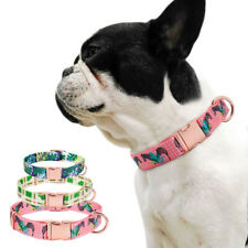 Personalized Dog Collar Floral Laser Engraved ID Side Release Buckle Custom Name