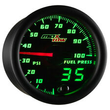 52mm MAXTOW DOUBLE VISION 100psi FUEL PRESSURE GAUGE - GREEN DIGITAL + ANALOG