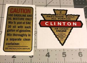 "Clinton 2 Cycle engine decal Maquoketa Iowa Arrowhead 3"" And Caution Mix Set 2"