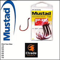 3 x Mustad Big Red Snapper Hooks - pick your size fishing hooks Mustad Hooks