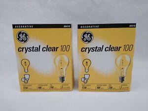 Lot of 2 New GE 90410 Crystal Clear General Purpose A19 Light Bulb 100 Watt