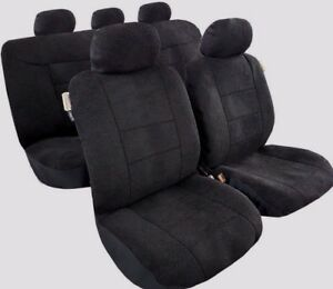 For Toyota Black Sheepskin Style Suede Car Seat Covers Universal Australia Size