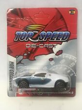 BAD CARD 1/64 Scale Top Speed Diecast Bugatti Veyron White Blue