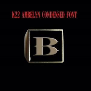 Solid Bronze B Signet Letter Motorcycle Club biker Ring K22 font Custom size