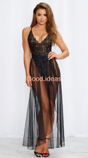 Sexy Lingerie Lady 2PCS Lace Backless Teddy+Skirt Gown Babydoll Sheer Mesh Dress