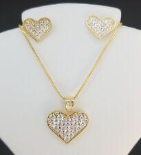 Diamond Heart Pendant Earrings Set Box Chain 14K Yellow Gold Over 925 Silver