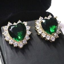 Sparkling Emerald Heart Earring Stud Women Wedding Jewelry Yellow Gold Plated