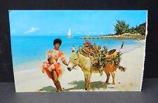 Beautiful Jamaican Woman Donkey on Beach Jamaica sailboat ocean Posted 1971