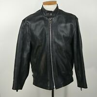 Black Leather Full Zip Motorcycle Jacket Mens Size L