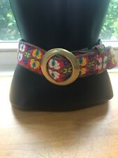Vtg Kristin Kahle Women Multicolor Red Embroidered Tapestry Belt Slide Buckle 42