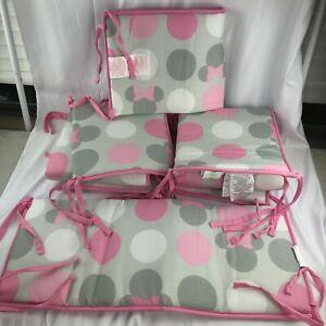 Disney Baby Minnie Mouse Polka Dot Secure Me Crib Bumper Pink White Gray Bedding