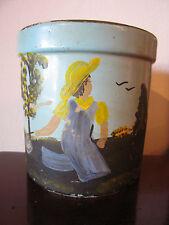 Vintage Possibly Antique Primitive Signed Painted Stoneware Jar w/ Farm & Figure